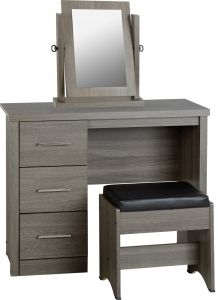 Seconique Lisbon 3 Drawer Dressing Table With Stool & Mirror Black & Faux Leather