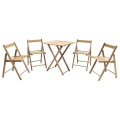 Tramontina Wooden Garden Furniture Set Table & 4 Chairs - Teak Folding Bistro Set Patio