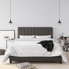 Emily Upholstered Bed Frame Grey Linen 4ft6 Double  5ft Kingsize By Dorel Home