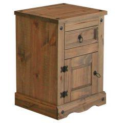Corona Bedside Cabinet with Door - Mexican Pine Premium Range