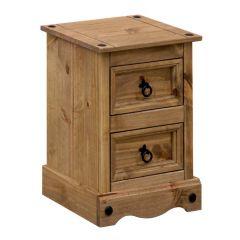 Corona Petite 2 Drawer Bedside Cabinet - Mexican Pine Premium Range