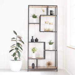 MH London Wolff Handmade Mango Wood Storage Shelf Abstract Bookcase