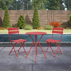 COSCO 3 Piece Bistro Set Outdoor Patio Garden Dining Table & Chairs Red