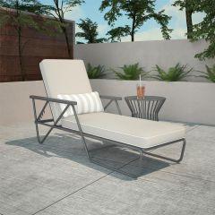 Novogratz Connie Outdoor Garden Patio Chaise Lounge Sun Lounger Grey