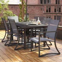 COSCO Outdoor Capitol Hill Garden 7 Piece Dining Table & Chairs Set Steel Charcoal