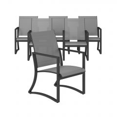 COSCO Outdoor Capitol Hill Patio Garden Dining Chairs Charcoal Grey 6 Pack