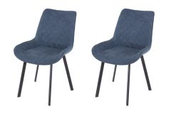 Core Aspen Blue Fabric Upholstered Dining Chairs, Set of 2