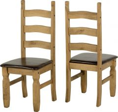 Seconique Corona Mexican Waxed Pine & Black Faux Leather Dining Chairs, Set of 2