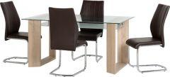 Seconique Milan 1+4 Dining Set - Glass / Sonoma Oak & Brown Leather