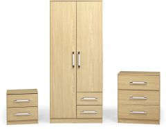 Seconique Jasper Bedroom Set Wardrobe Chest of Drawers Bedside Table Oak Effect