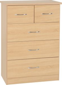 Seconique Nevada Bedroom Furniture 3+2 Drawer Chest Of Drawers - Sonoma Oak