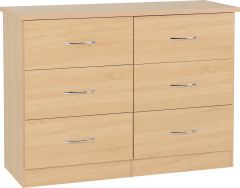 Seconique Nevada Bedroom Furniture 6 Drawer Chest Of Drawers - Sonoma Oak