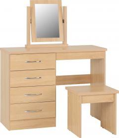 Seconique Nevada 4 Drawer Dressing Table Set - Sonoma Oak