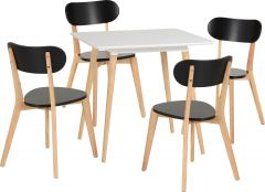 Seconique Julian White Dining Table & 4 Black Chairs Set