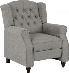 Seconique Balmoral Reclining Chair Occasional Armchair Grey Fabric