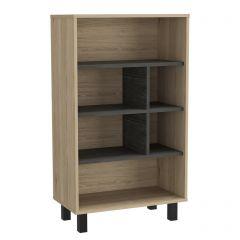 Core Harvard Oak & Carbon Grey 4 Tier Display Bookcase