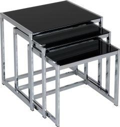 Seconique Hanley Living Room Nest of Tables Black Glass & Chrome