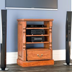 Baumhaus La Reine Entertainment Cabinet (Ancillaries) - Solid Mahogany - Light Brown Laquered Finish - Assembled