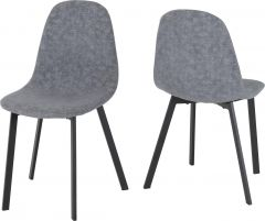 Seconique Set Of 4 Berlin Dining Room Chairs  Dark Grey Fabric