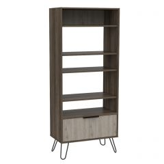 Core Nevada Smoked Oak 5 Tier Display Bookcase with Cupboard
