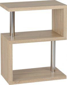 Seconique Charisma 3 Tier S Shelf Bookcase Unit Oak & Chrome