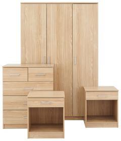 Panama 4 Piece Bedroom Set - 2x Bedside, Drawers & 3 Door Wardrobe - Oak