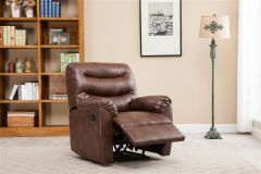 Birlea Regency Bronze Brown Faux-Leather Recliner Arm Chair with Foot Rest