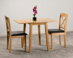 Seconique Mason Oak Double Drop Leaf Dining Table & 2 Brown Faux Leather Chairs
