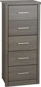 Seconique Lisbon 5 Drawer Narrow Chest In Black
