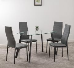 Seconique Abbey Clear Glass Dining Table & 4 Grey Faux Leather Chairs Set