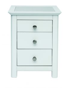 Core Stirling White Handcrafted 3 Drawer Bedside Cabinet