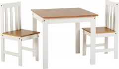 Seconique Ludlow 1+2 Small Dining Set - 1 Table & 2 Chairs - White & Oak