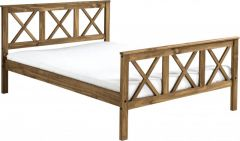 Seconique Salvador 4ft6 Double High Foot End Bed - Distressed Waxed Pine