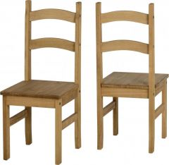 Seconique Waxed Pine Mexican Dining Chairs, Set of 2