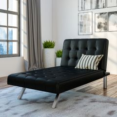 Emily Chaise Single Sofa Bed Button Tufted Black Faux Leather
