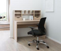 Alphason Albion Light Oak Coloured Home Office, Desk, Workstation with Shelving