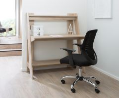 Alphason Arizona Light Oak Coloured Home Office Desk, Workstation with Shelving