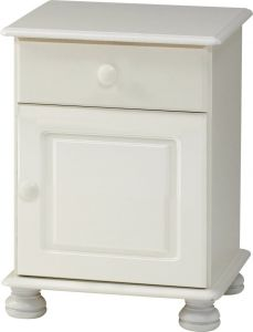 Steens Richmond White 1 Door 1 Drawer Bedside Cabinet