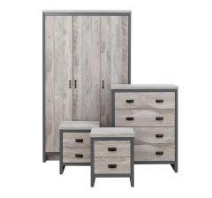 Boston Urban Style Grey 4 Piece Bedroom Set - 3 Door Wardrobe, Chest & 2x Bedside