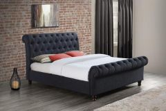 Birlea Castello Fabric Charcoal Grey Sleigh Bed - 4ft6 Double, 5ft King & 6ft Super King