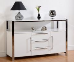 Seconique - Charisma 2 Door 3 Drawer Sideboard - White Gloss and Chrome