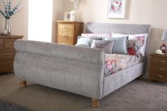 Chicago Silver Upholstered Chenille Fabric Sleigh Bed - 4ft6 Double & 5ft Kingsize