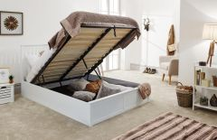 Como Wooden Ottoman Lift Up Storage Bed - WHITE - 3ft Single, 4ft6 Double, 5ft Kingsize