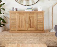 Baumhaus Mobel Oak Large 6 Drawer Sideboard - COR02B