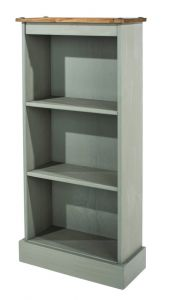 Corona Grey Washed Pine Low Narrow Bookcases