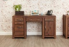 Baumhaus Mayan Walnut Twin Pedestal Computer Office Desk - CWC06B