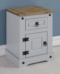 Seconique Corona 1 Door 1 Drawer Petite Bedside Cabinet - Grey/Distressed Waxed Pine
