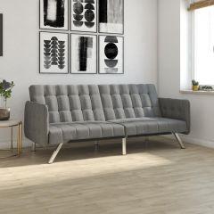 Emily Convertible Click-Clack Split Back Sofa Bed Tufted Grey Linen