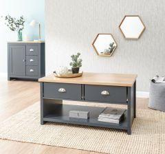Lancaster Slate Blue Modern Living Room Furniture - 2 Drawer Coffee Table