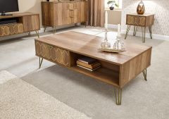Orleans 2 Drawer Mango Wood Effect Coffee Table